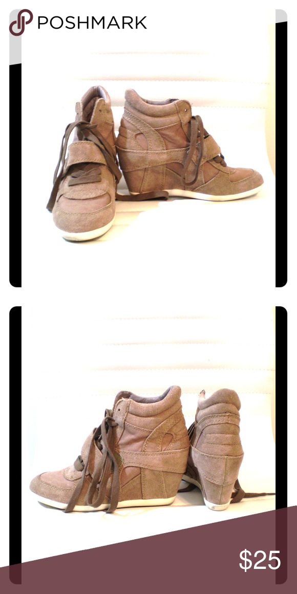 Limited by A.S.H. taupe wedge tennis shoe Limited by A.S.H. taupe wedge tennis shoe in combo of suede and cloth, lace-up and Velcro close Limited by A.S.H. Shoes Wedges