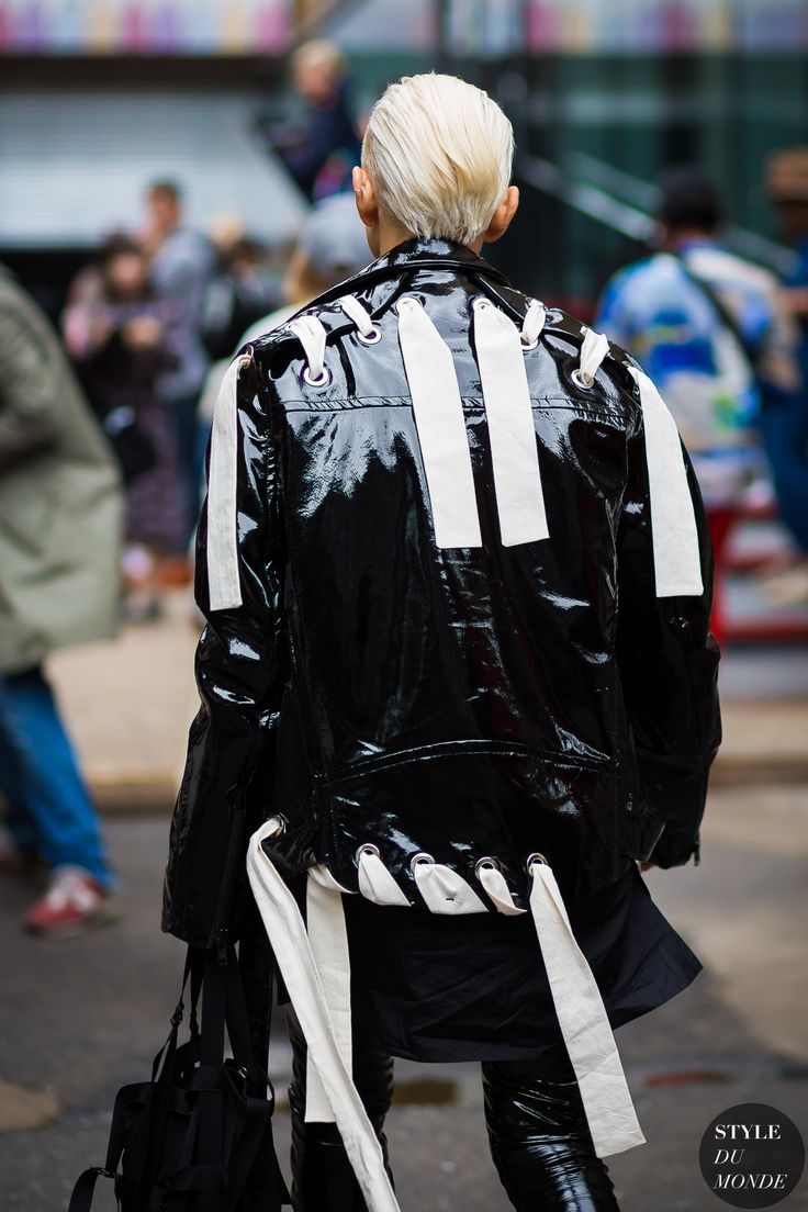 Craig Green Lace-up leather biker jacket by STYLEDUMONDE Street Style Fashion Photography
