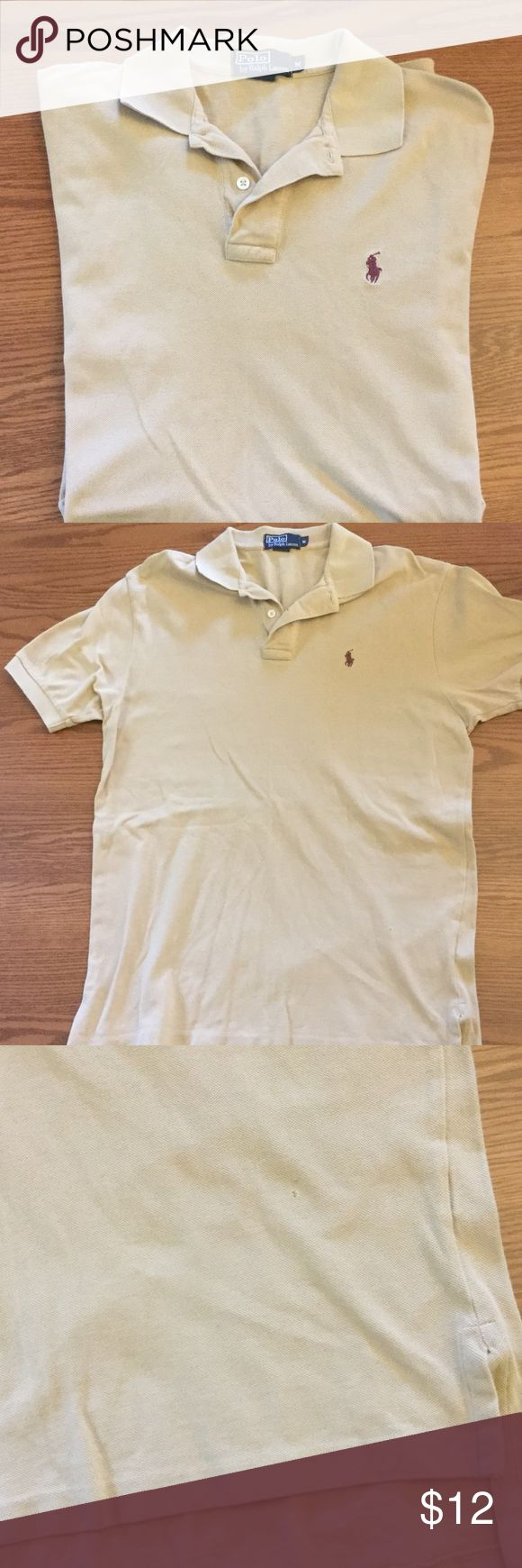Ralph Lauren men's Polo shirt Tan Ralph Lauren Polo shirt.  Selling cheap due to a tiny hole at the bottom left side of the shirt.  Can be sewn or I will sew it before sending- Just ask!!  Shouldn't be noticeable since it's at the bottom.  It's a little darker than the photos Polo by Ralph Lauren Shirts Polos