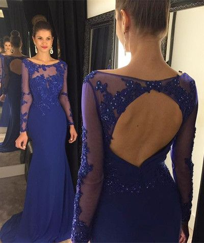 Open back prom dresses, long sleeve prom dress, Royal blue prom dress, Mermaid…