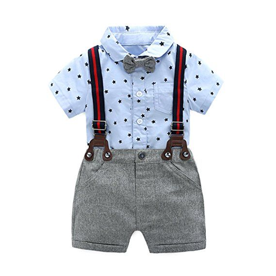 2ee04fc61 Baby Boys Gentleman Outfits Suits, Infant Short Sleeve Blue Onesies+Gray  Pants+Bow Tie Clothing Sets