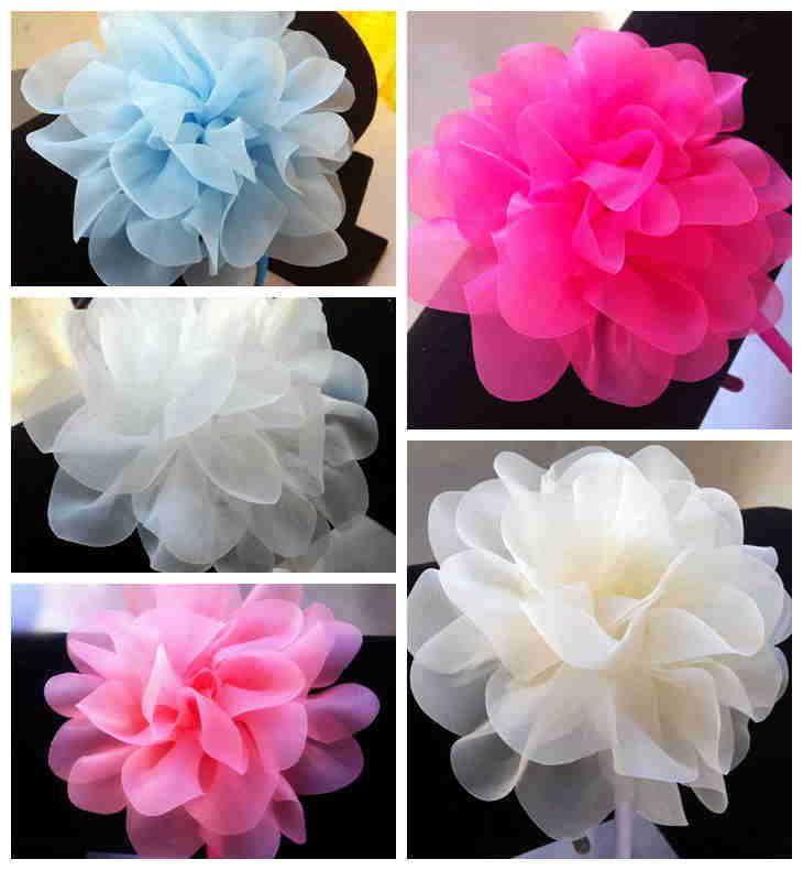 Девочки-младенцы цветок из шёлка волос лента сплошной ткань цветы с лента повязка на голову для женщины и девочки 20 шт.