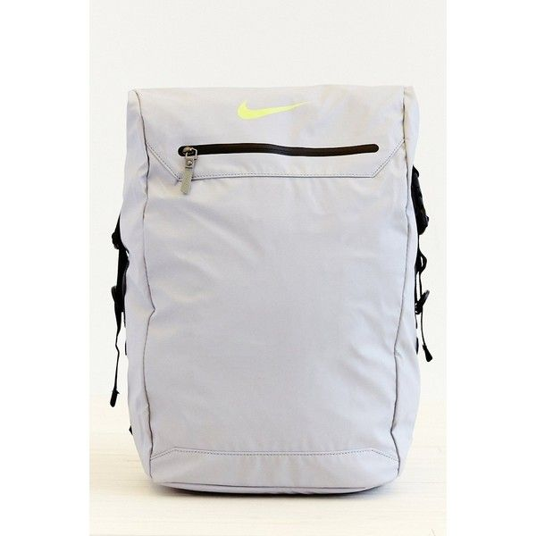 Nike Backpack ($76) ❤ liked on Polyvore featuring bags, backpacks, backpack, grey, gray bag, mesh bag, tablet bag, padded bag and nike backpack