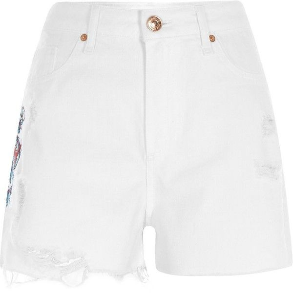 River Island White dragon high waisted denim shorts ($70) ❤ liked on Polyvore featuring shorts, casual shorts, white, women, high rise jean shorts, denim shorts, ripped denim shorts, high-waisted jean shorts and high-waisted shorts