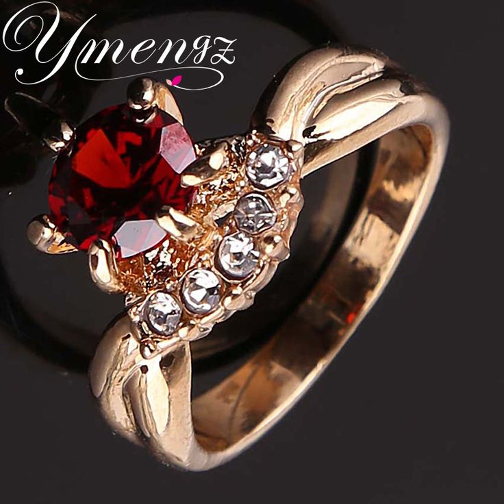 YMENGZ Brand Top Quality  Women Rings On Hot Sale Gold Plated Bridal Sets Fashion Round Rings For People Attend Party or Wedding