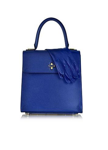 Charlotte Olympia Bogart Borsa a Mano in Pelle Blu Cobalto con Guanti