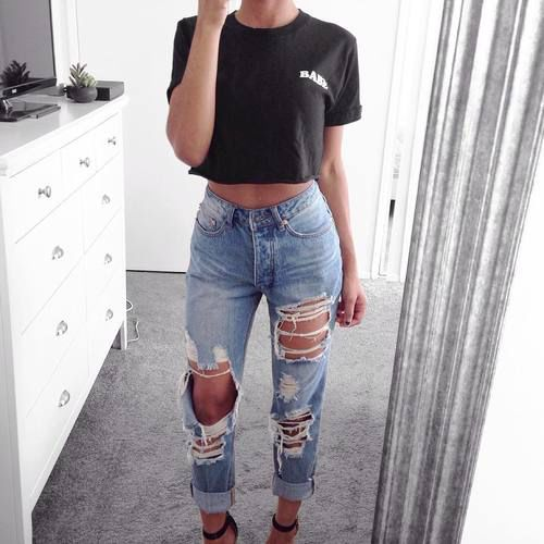 Best 25  Ripped jeans outfit ideas on Pinterest | Teen fashion ...
