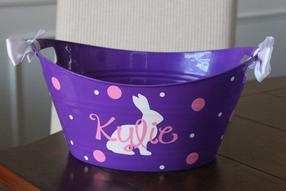Personalized easter basket - plastic, vinyl, easter basket, storage bin, easter bucket, polka dots, easter bunny