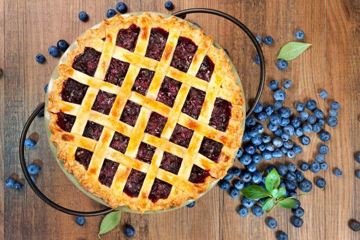 Amerikansk blåbærpai med lokk