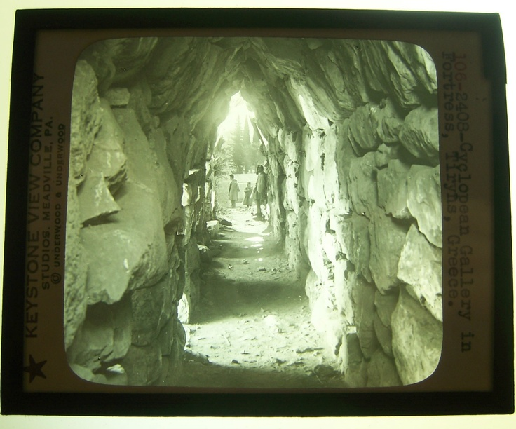Magic Lantern Slide Keystone 1900s 106 2408 Greece Cyclopean Gallery Tiryns | eBay