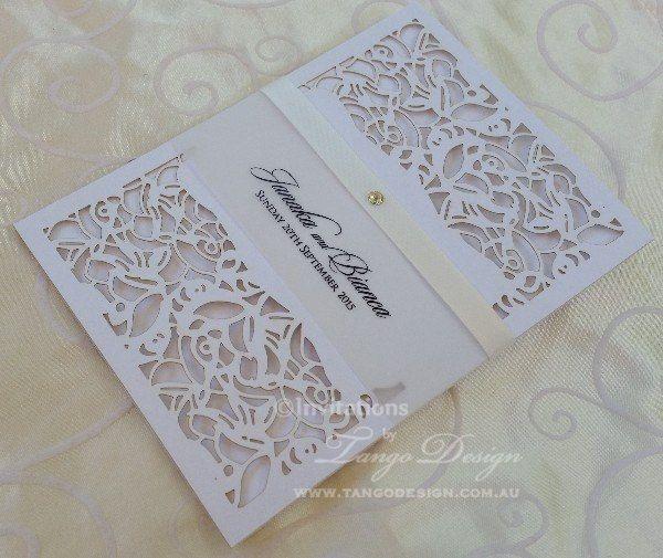 Laser cut wedding Invitation x24 pocket invitations personalised card modern or vintage theme by InvitationsbyTango on Etsy