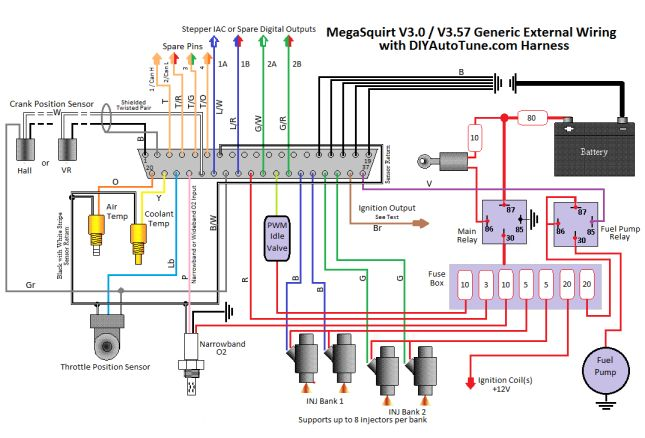 8' MegaSquirt Wiring Harness (MS1/MS2/MS3 Ready) Fuel