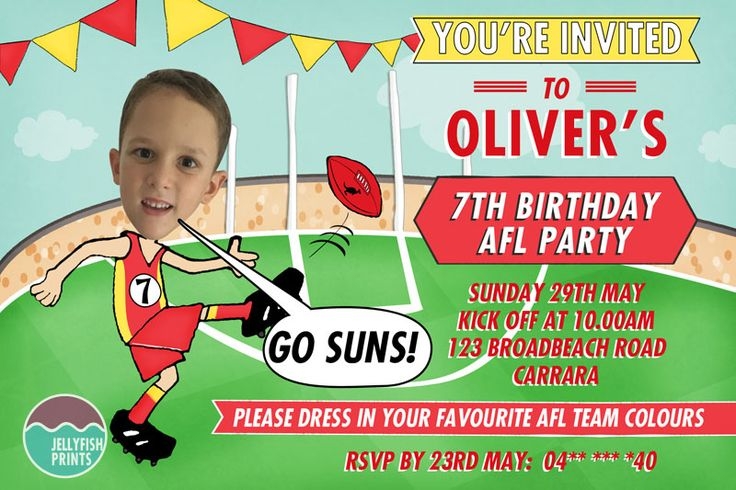 AFL Birthday Invitations - Birthday invitation gold coast