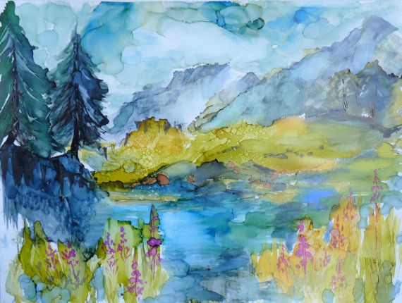 Alcohol Ink Landscape Print by Maure Bausch by twopoots on Etsy, $12.50