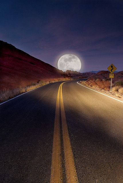 """I've always love watching the moon rise, when on the road.""-Katrina Westall"
