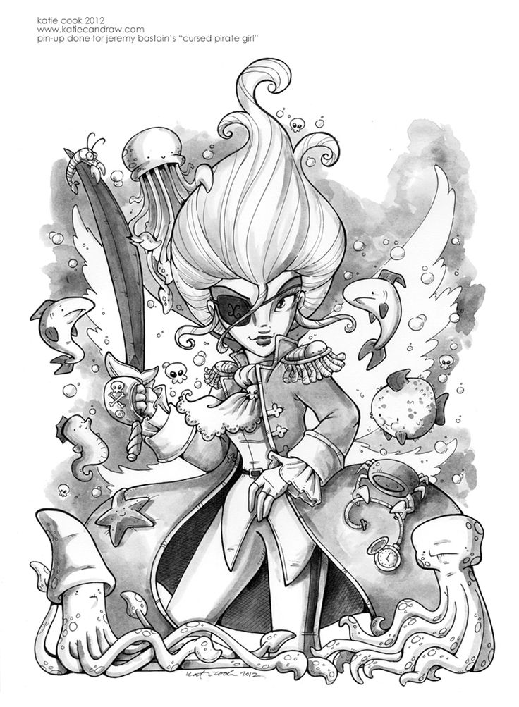 Cursed Pirate Girl fan art by Katie Cook.  http://katiecandraw.deviantart.com/art/cursed-pirate-girl-pin-up-347764365