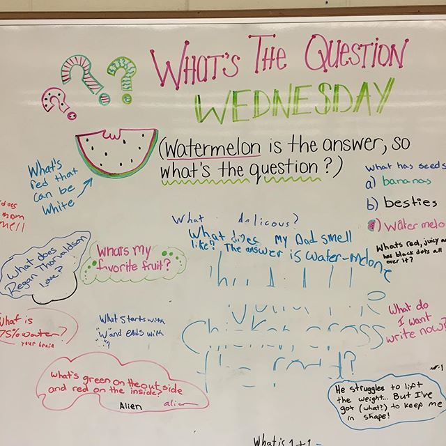 WHAT'S THE QUESTION WEDNESDAY Watermelon is the answer. What is the question ? #miss5thswhiteboard