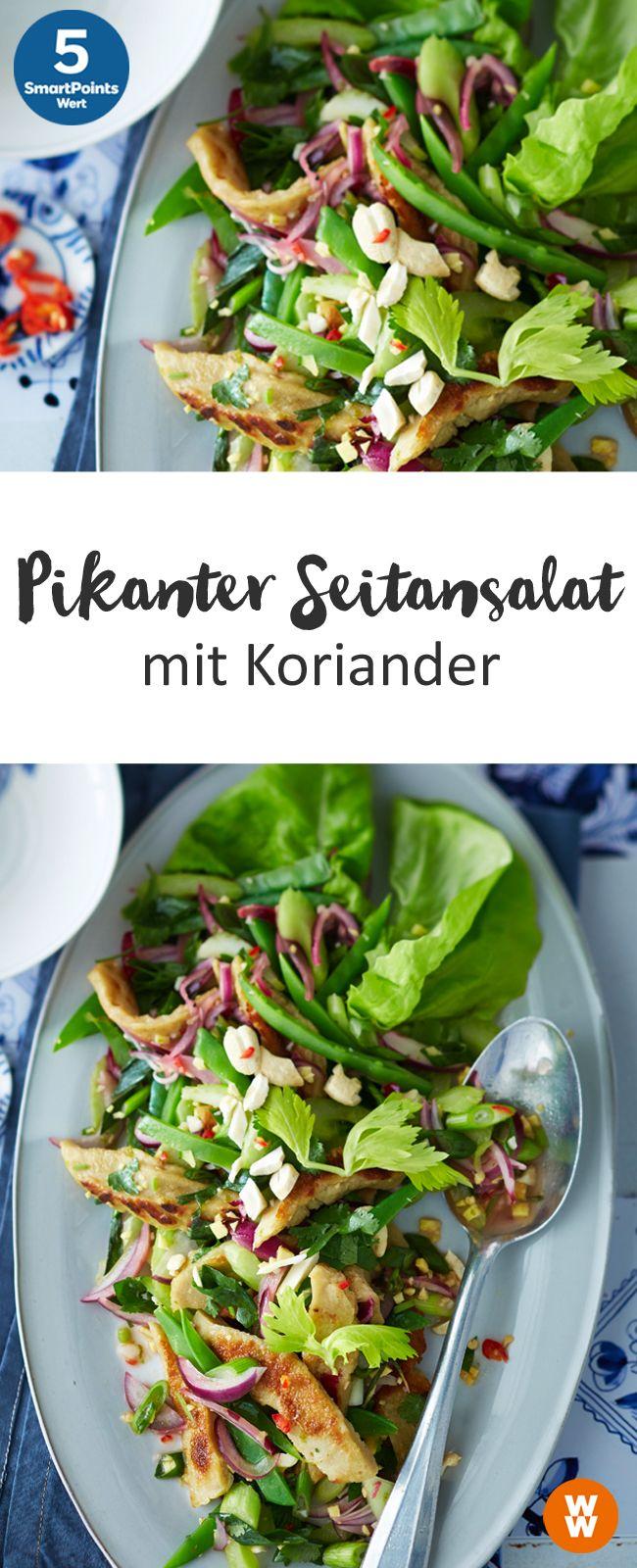 Pikanter Seitansalat mit Koriander | 5 SmartPoints/Portion, Weight Watchers, fertig in 20 min.