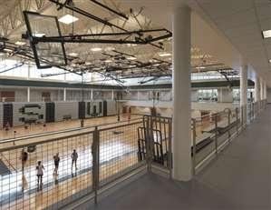 Blue Valley Southwest High School Gym, Designed by Perkins+Will via @SchoolDesigner