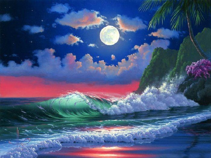Ночь, океан.