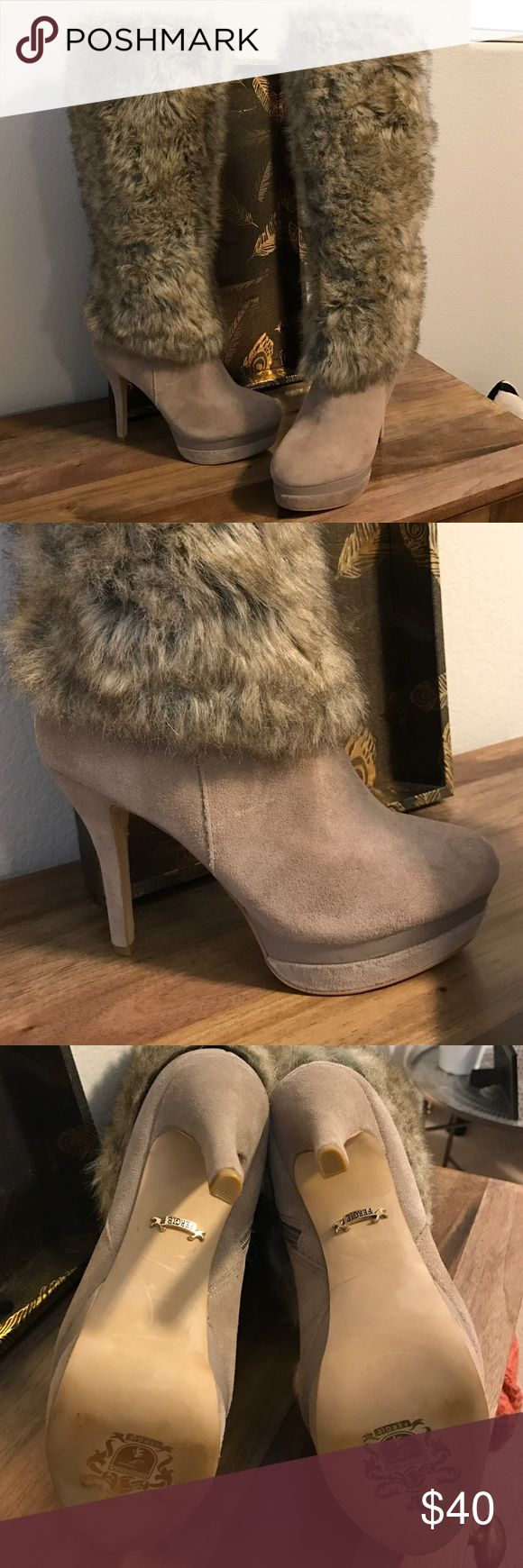 FERGIE tan fur boots Worn only once. These are great boots !! Nice neutral color with faux fur and suede 1 inch platform with 4 1/2 inch heel. Full zipper top to bottom. In excellent condition. An absolute must for your winter wardrobe. Make your best offer !! 😊 Fergie Shoes Heeled Boots