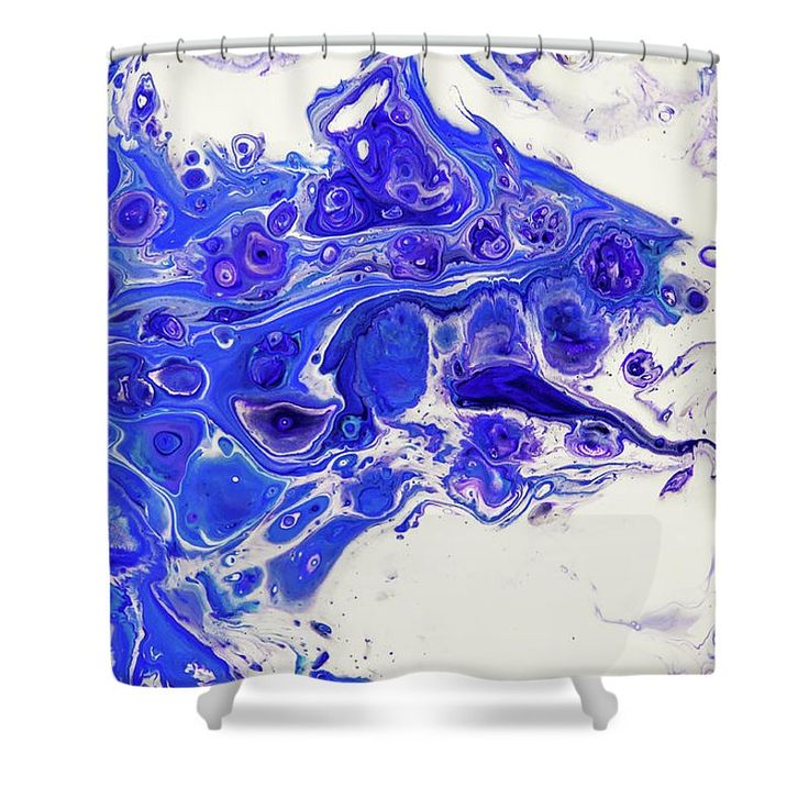 """Sacred Purple Flows 1. Abstract Fluid Acrylic Pour Shower Curtain by Jenny Rainbow.  This shower curtain is made from 100% polyester fabric and includes 12 holes at the top of the curtain for simple hanging.  The total dimensions of the shower curtain are 71"""" wide x 74"""" tall."""