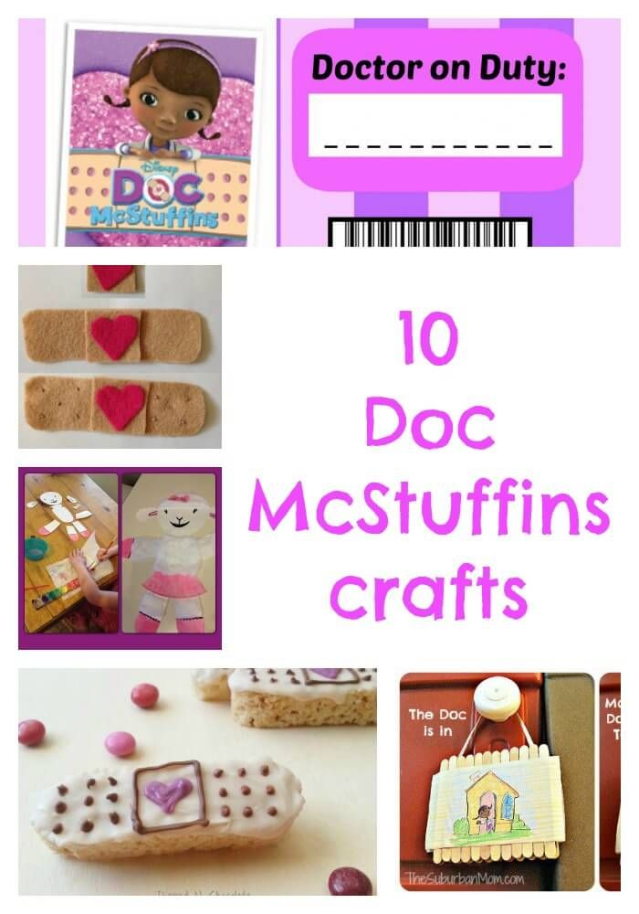 10 Doc McStuffins crafts, including felt plasters and bandages, Lambie paper plate craft, The doc Is In sign and name badge printable.