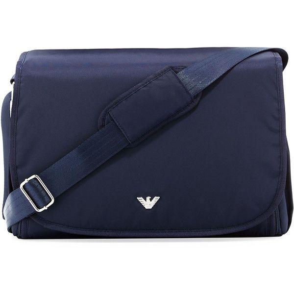 Armani Junior Nylon Crossbody Diaper Bag (930 BRL) ❤ liked on Polyvore featuring navy