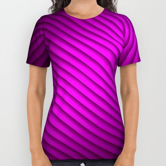 #Society6 Purple Oblique Stripes T-Shirt by Elena Indolfi