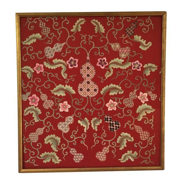 Image of Silk Embroidered Asian Tapestry