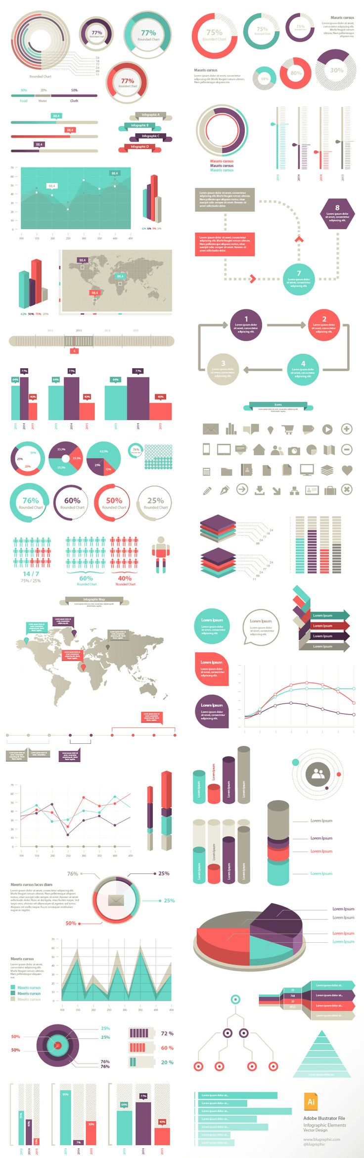 100+ Infographic Elements (Vector)