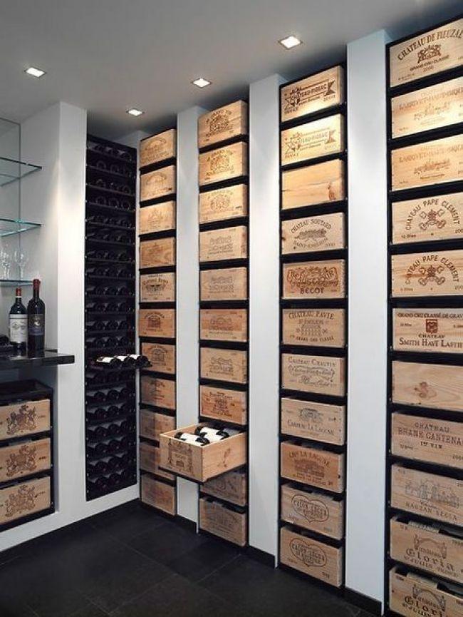 Palettes Comme Tiroirs De Rangement Cave A Vin Rangement Vin