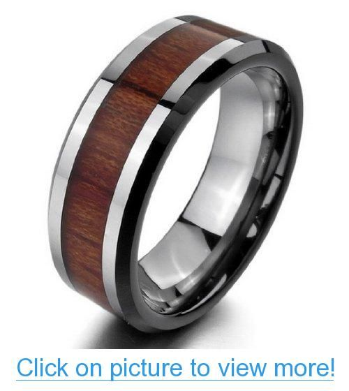 JBlue Jewelry Men's Tungsten Ring Comfort Fit Band Silver Red Wood Wedding (with Gift Bag)