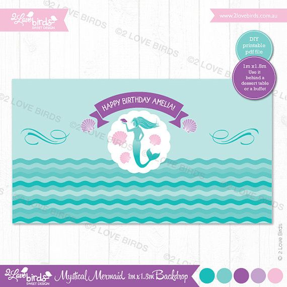 Mermaid Printable Backdrop by 2LoveBirdsDesign on Etsy