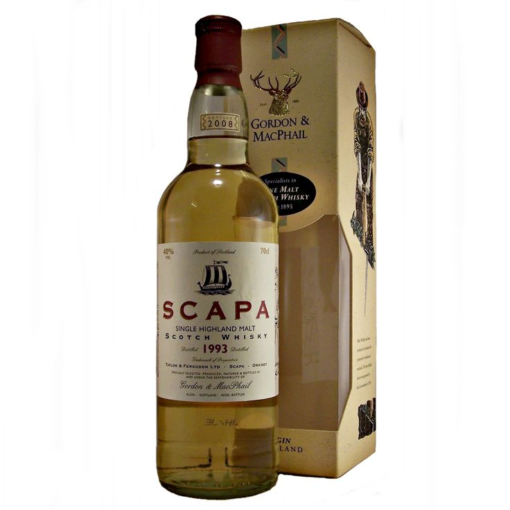 Scapa Distillery Whisky  Specialy Selected, Produced, Matured & Bottled by  and Under the Risponsibility of  Gordon & MacPhail  40% ABV  70cl