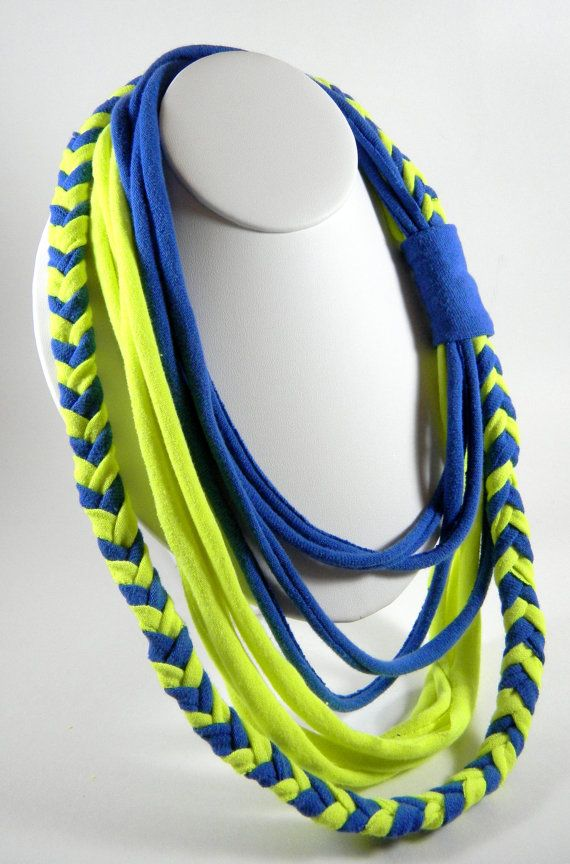 This is a great statement piece! Dark blue and neon yellow. 24 at the innermost strand, with a little bit of stretch.