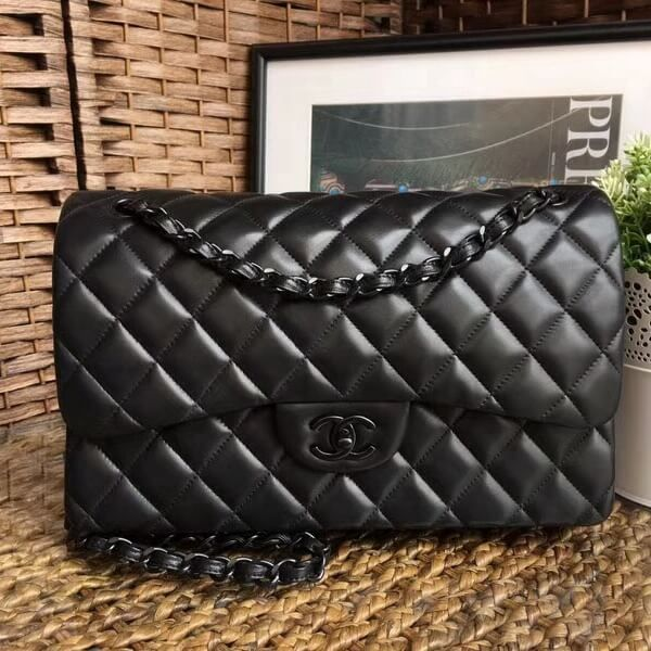 Chanel So Black Quilting Lambskin Jumbo Classic Flap Bag Email me to the purchase  link 03a9117fe202c