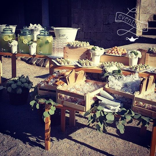 Refreshments & desserts installation at the church for a country chic wedding in Rhodes!