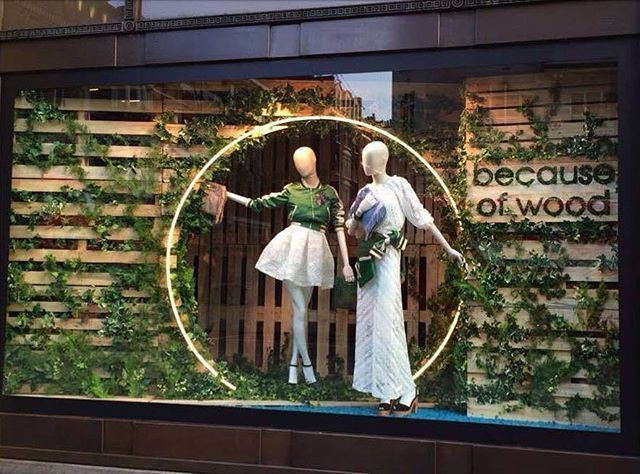 "The @majeofficiel ""because of wood"" windows at @theofficialselfridges are definitely giv..."