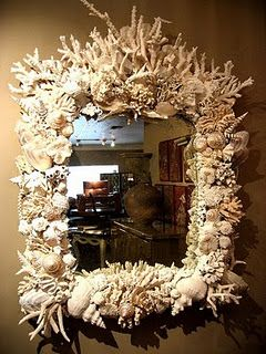 """Gorgeous shell mirror, these have been so done, as there are so many """"bad"""" ones. This one is really fun!"""