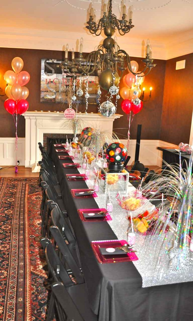 Adult birthday table decorations - Find This Pin And More On Parties Adult Birthday Parties By King3516 Disco Party Table Decorations Mais