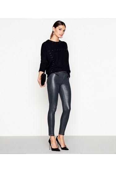 Silver snakeskin-effect skinny jeans