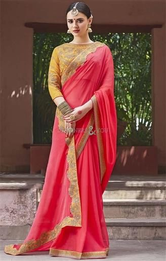08e37d2e51b08  Shop This Trendy Apple Red  Georgette  Party  Wear  Saree Set For Rejoice   Party. This  Sari Blouse Comes With 3 4th Sleeves