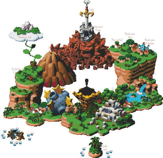 Super Mario RPG World Map Cross Stitch Pattern by ServoStitches, $6.00