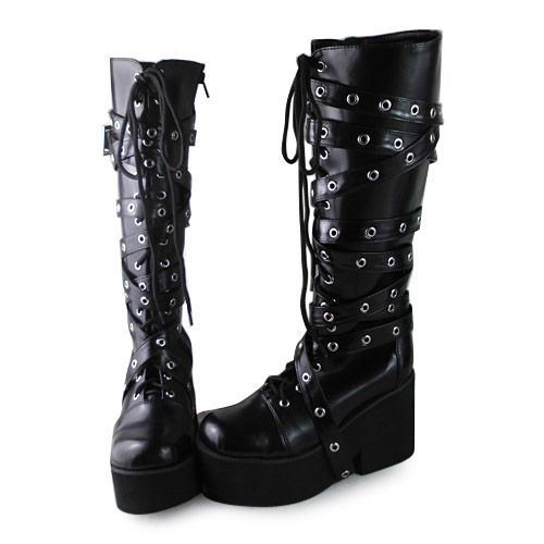 Punk shoes Big shoes  / special custom Lolilloliyoyo antaina  gothic cos shoes custom  lolita cos punk boots 1302  PU feather