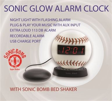 The Sonic Glow Baseball Alarm Clock - with recordable alarm and Sonic Bomb Bed Shaker