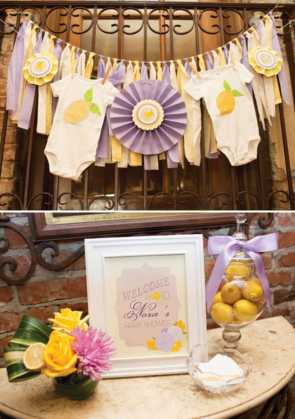bridal shower themes for spring%0A A Gorgeous Lemon  u     Lavender Baby Shower