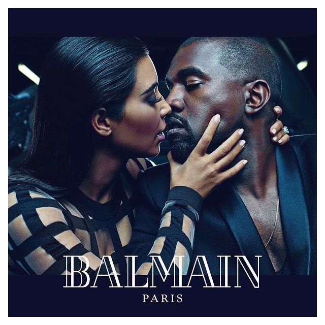 Kim and Kanye Get Close for Balmain Spring 2015