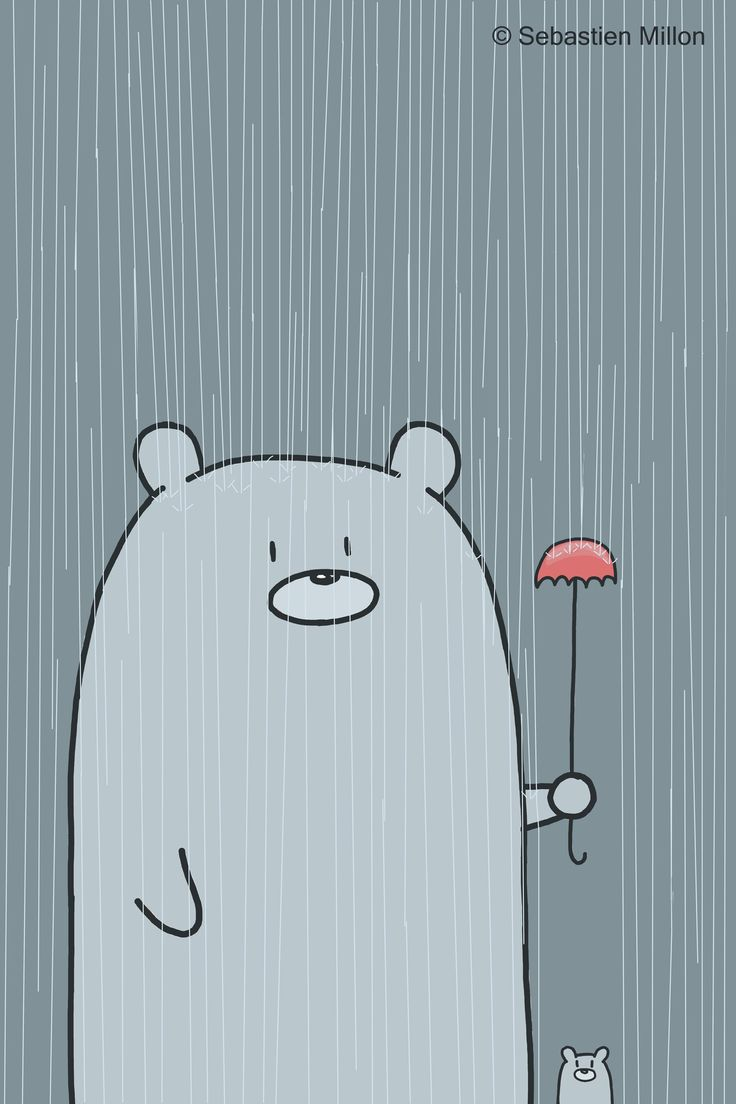 Father holds a little umbrella to keep his son dry :)     #illustration #cute #sebastien millon #kawaii #sweet #cartoon