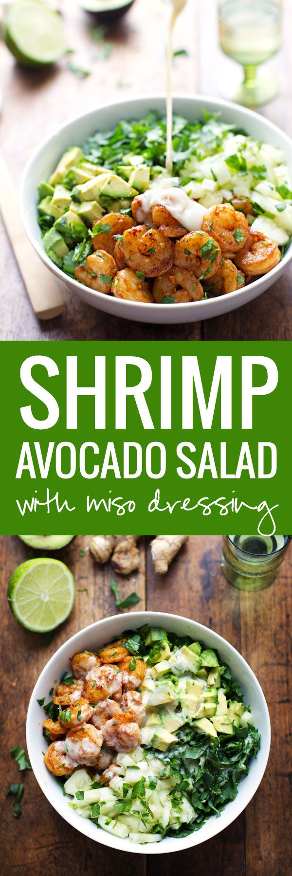 This Spicy Shrimp and Avocado Salad: has cucumbers, baby kale, shrimp, and avocado with a creamy miso dressing.
